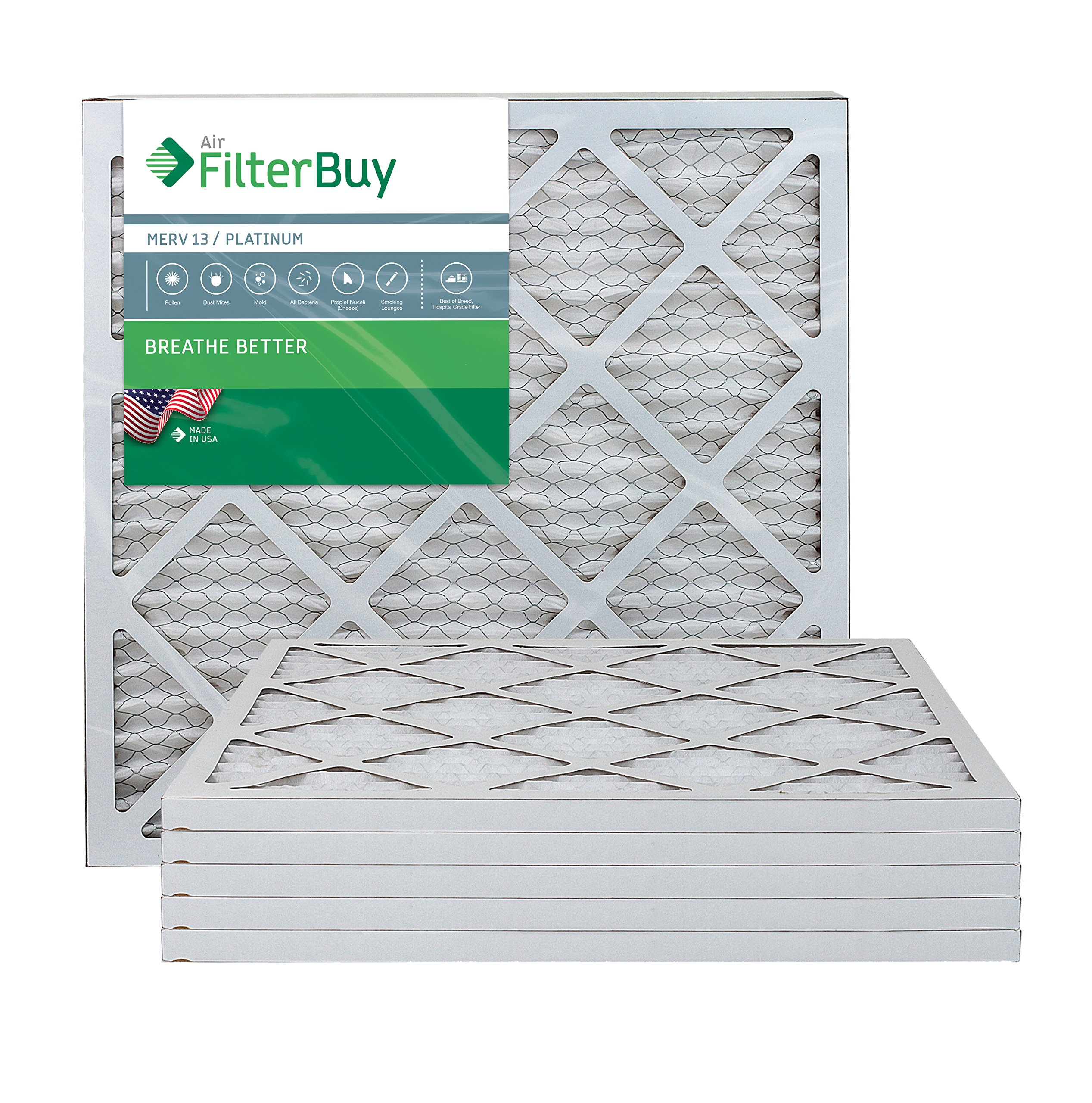 AFB Platinum MERV 13 18x20x1 Pleated AC Furnace Air Filter. Pack of 6 Filters. 100% produced in the USA.