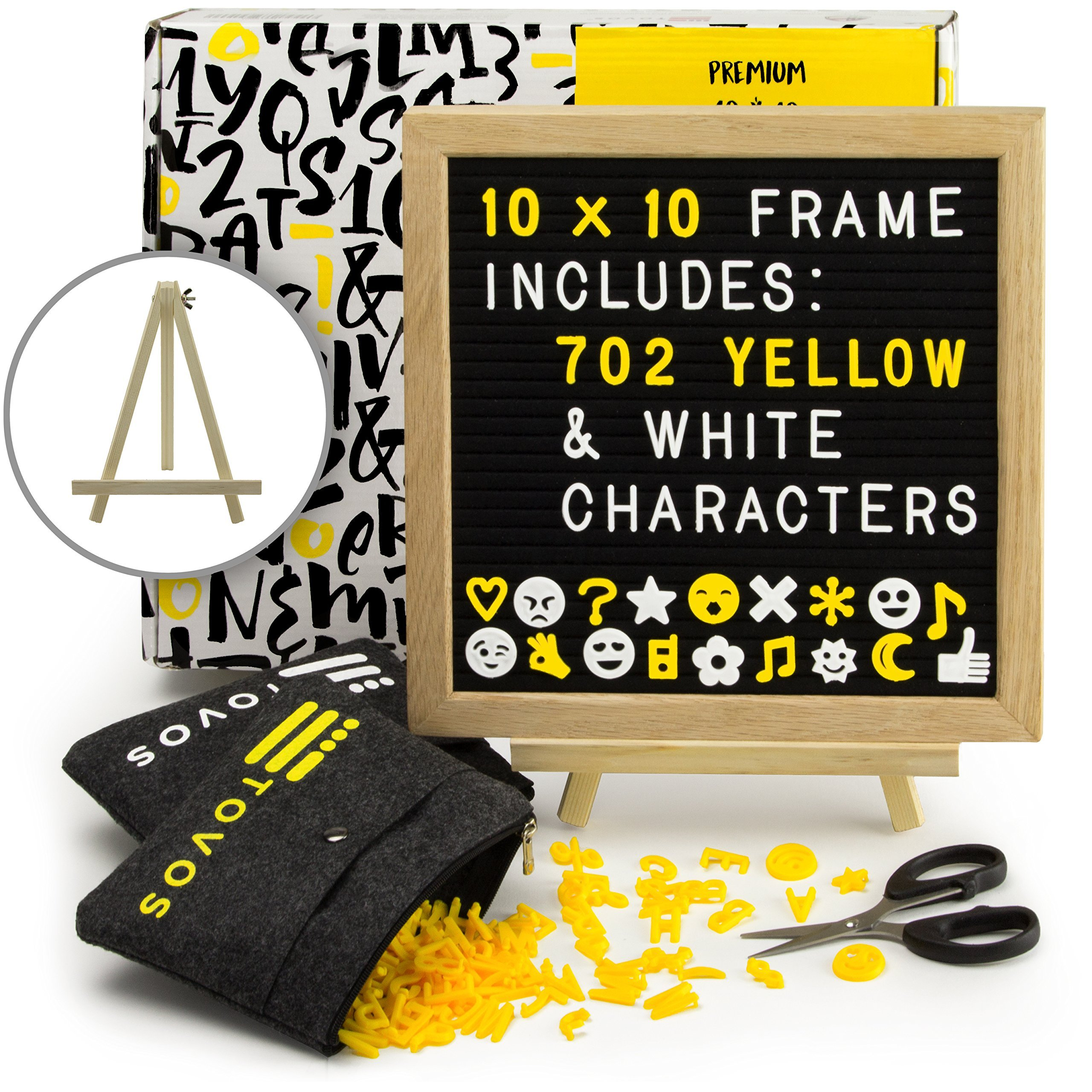 Felt Letter Board Set: Black Message Board in Solid Oak Frame, 10'' x 10'' with 702 Letters (362 Bright Yellow & 340 White), Adjustable Wood Easel Stand, Precision Scissors & 2 Zippered Storage Pouches