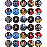 30 x Edible Cupcake Toppers Themed of Star Trek Original Series Collection of Edible Cake Decorations   Uncut Edible on Wafer