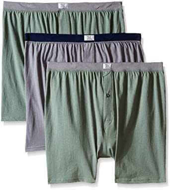 d685bf1bdcca Fruit of the Loom Men's Assorted Soft Stretch Knit Boxers, Assorted,  X-Large(Pack of 3) at Amazon Men's Clothing store: Boxer Shorts