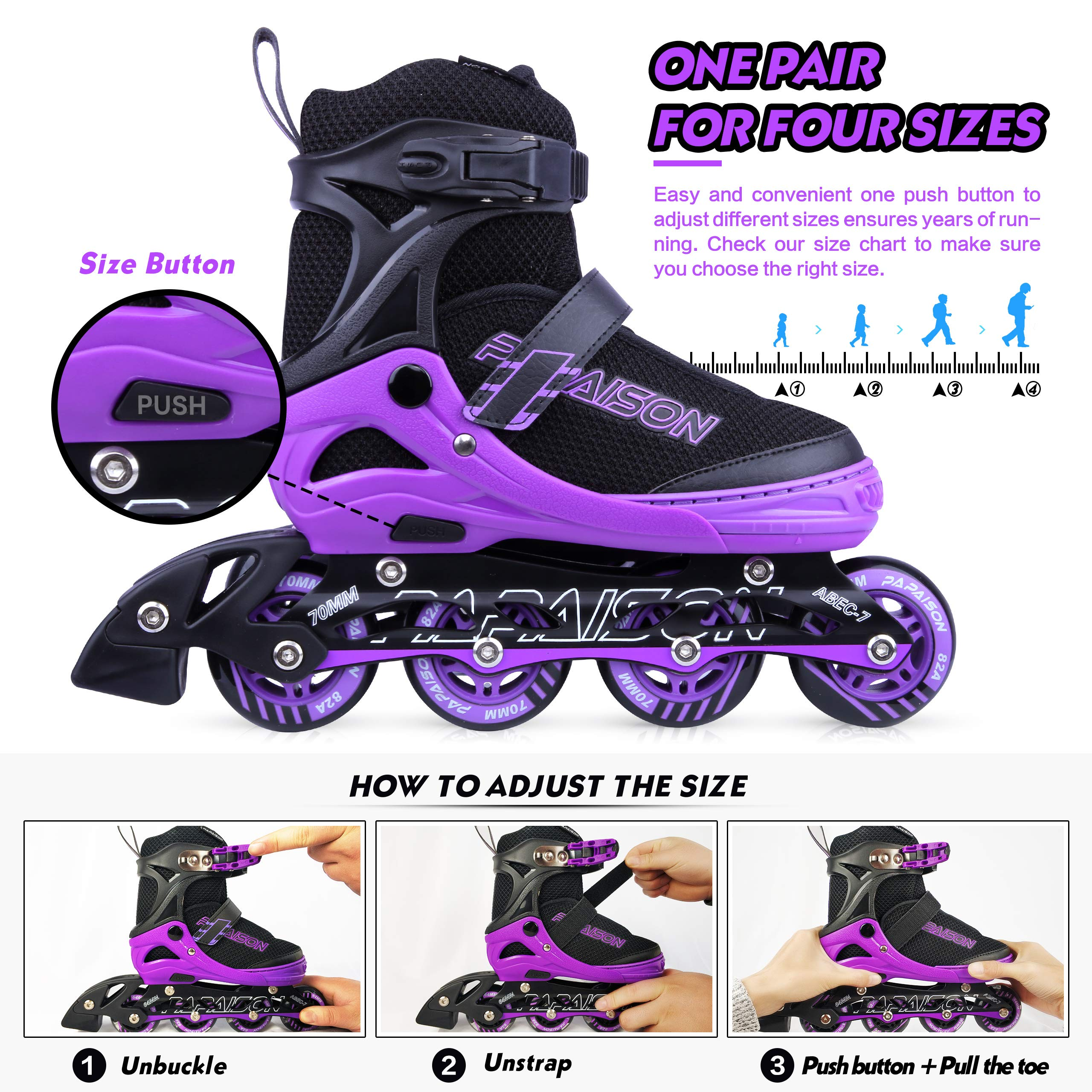 PAPAISON SPORTS Adjustable Inline Skates for Kids and Adults with Full Light Up LED Wheels, Outdoor Rollerblades for Girls and Boys, Men and Women by PAPAISON SPORTS (Image #2)