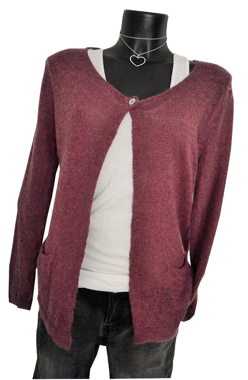 Fashion Trend Mode Knitwear edle und feminine Strickjacke Cardigan Weste mauve beere M 38 40 casual boho nude (919)