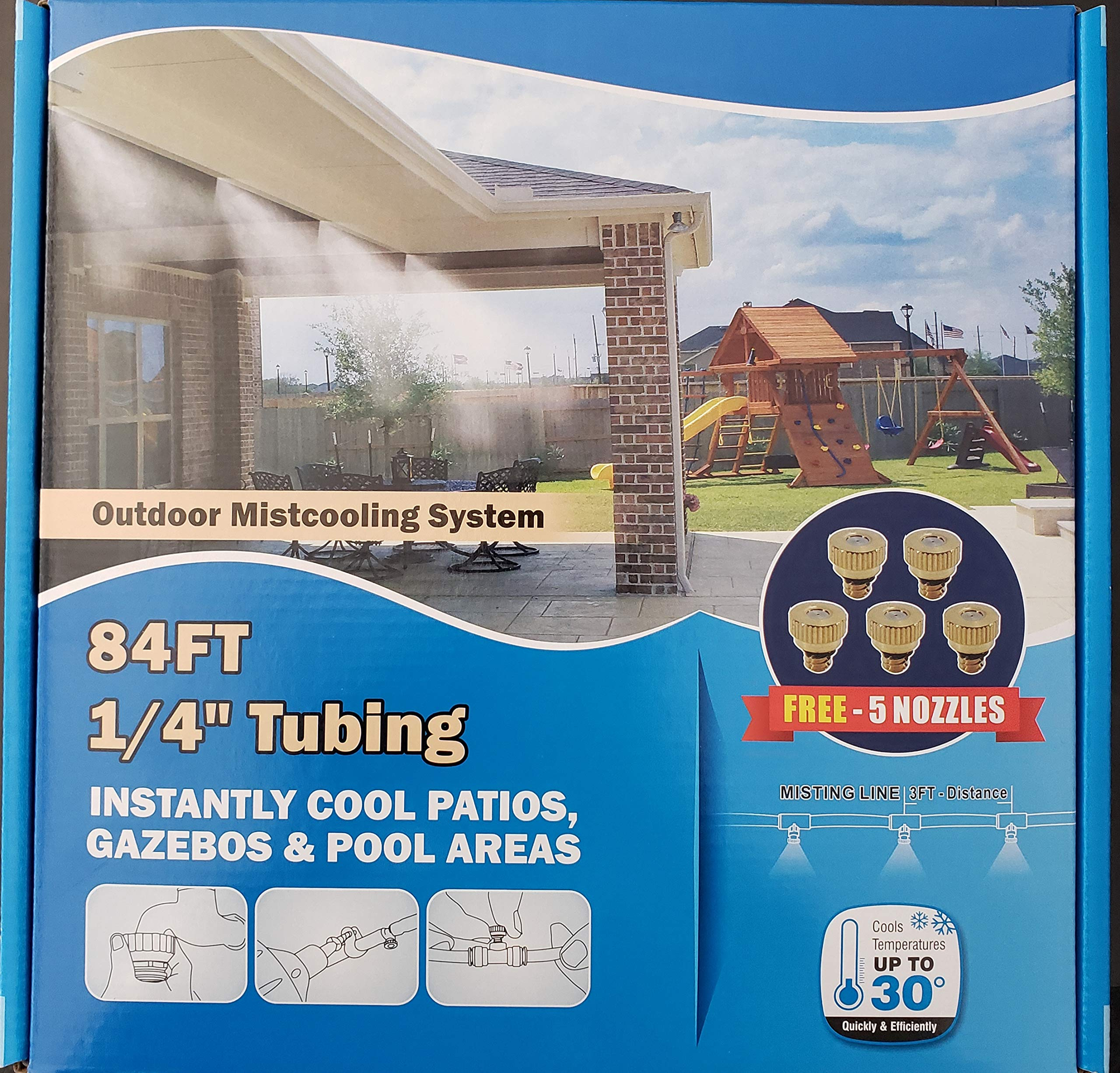 Hydrobreeze Outdoor Cooling System 84 Ft 1/4'' Beige Tubing - 24 Nozzles System by Hydrobreeze