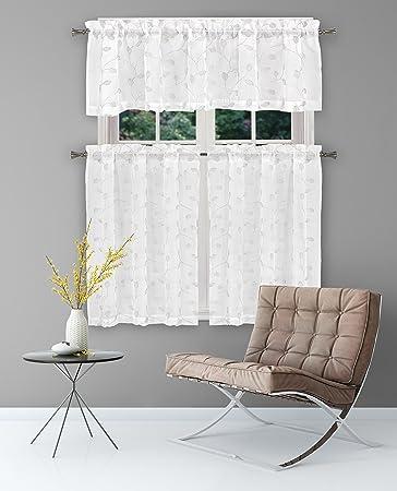 Amazonde Home Maison Floral Küche Fenster Vorhang Set Weiß 56 X
