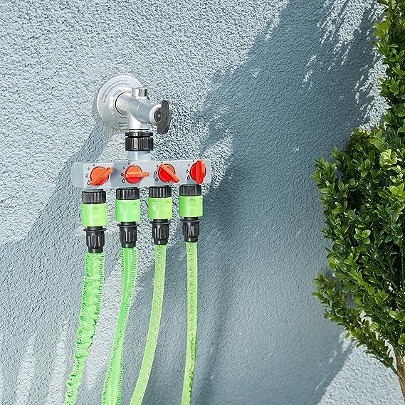 Regulierbarer 4-Wege-Schlauch-Verteiler für die Gartenbewässerung