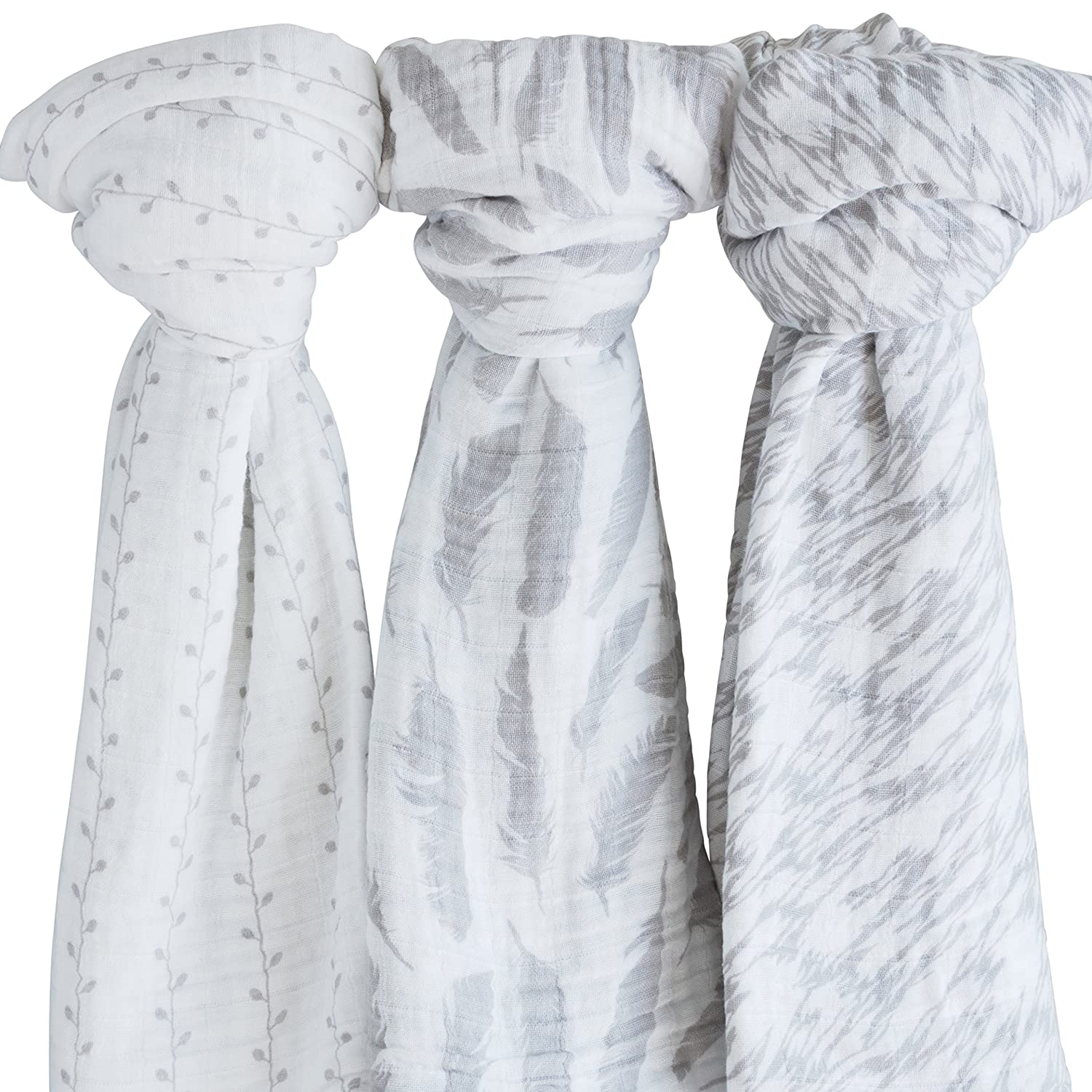 Muslin Swaddle Blanket 100% Soft Muslin Cotton 3 Pack 47'x 47' Classic Grey Combo Unisex for Baby Girl or Baby Boy Ely's and Co.