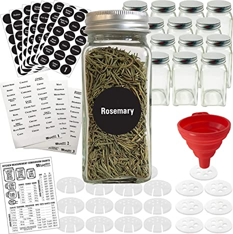 Amazon Com Talented Kitchen 14 Glass Spice Jars W 2 Types Of Preprinted Spice Labels Commercial Grade Complete Set 14 Square Empty Jars 4oz Pour Sift Coarse Shakers Airtight Cap Chalkboard Clear Labels
