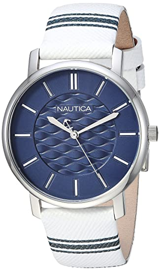 Amazon.com: Nautica Womens Coral Gables Quartz Stainless Steel and Nylon Casual Watch, Color:White (Model: NAPCGS002): Watches
