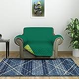 @home by Nilkamal Reversible 1 Seater Polyester Sofa Cover, Emerald & Light Green