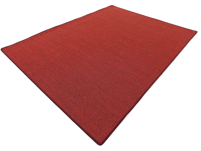Salsa Design HEVO® Sisal Teppich Rubin mit bordeaux Kettelkante 200x250 cm