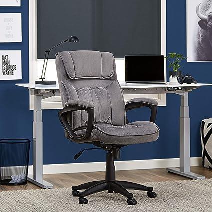 Amazon Com Serta Executive Office Chair In Velvet Gray Microfiber