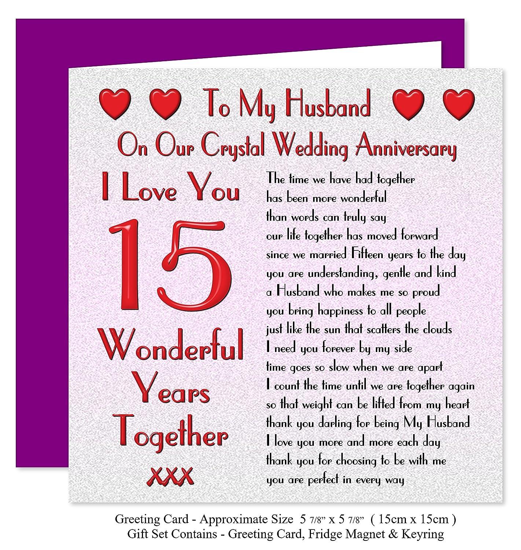 My Husband 15th Wedding Anniversary Gift Set Card Keyring