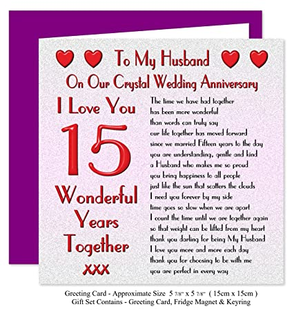 My Husband 15th Wedding Anniversary Gift Set Card Keyring