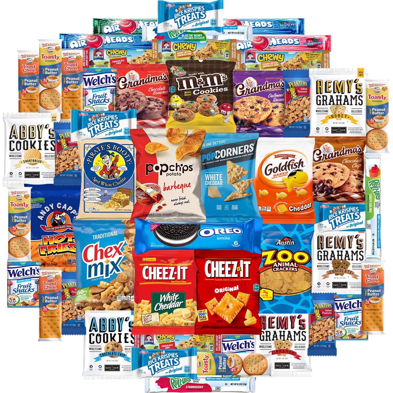 Cookies Chips & Candies Snacks Variety Pack (Care Package 50 Count) by Custom Varietea (Image #1)