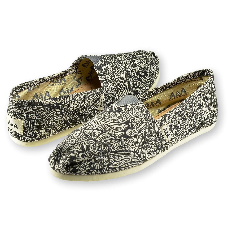 Amazon.com | A&A Women Black Slip-on Casual Flats Canvas Shoes Alpargatas (Henna T) | Fashion Sneakers