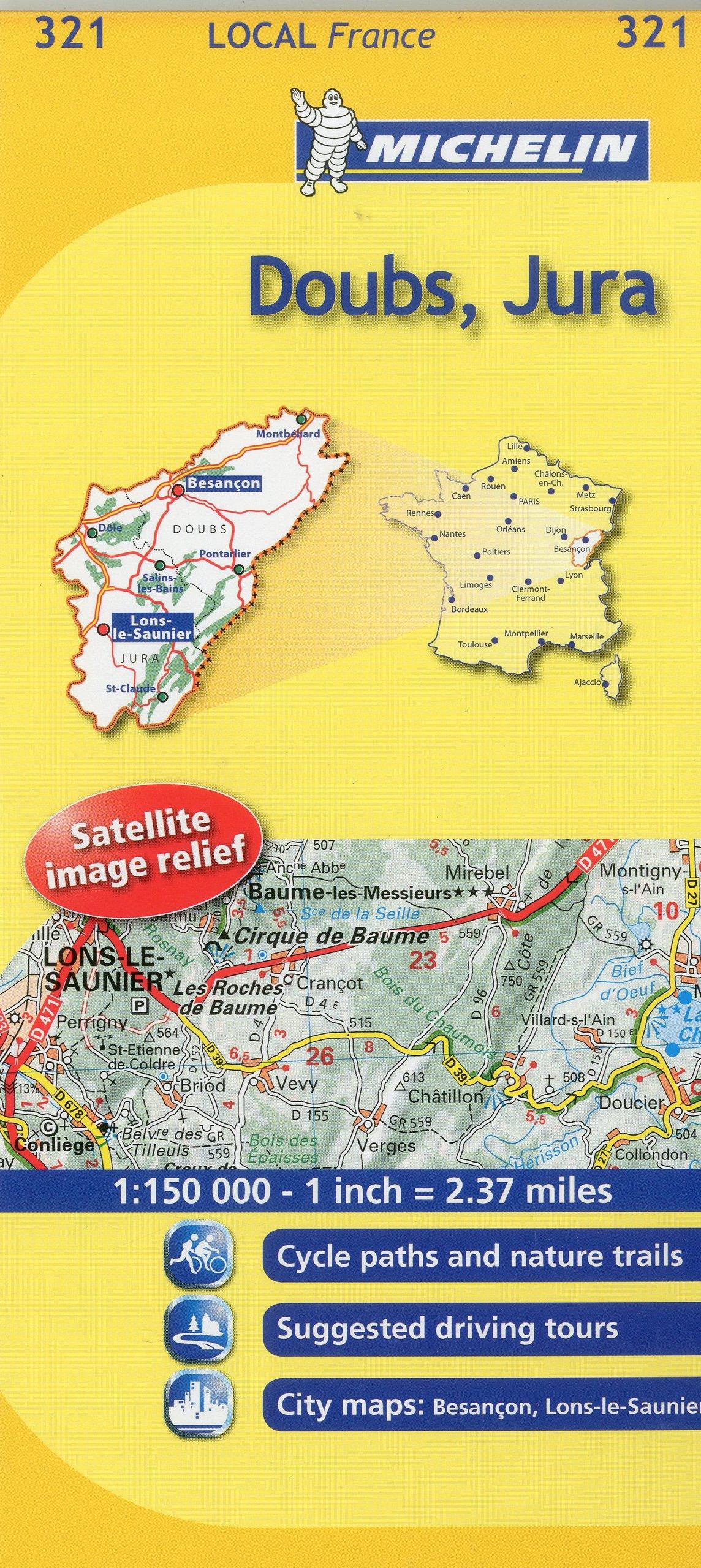 Michelin Map France: Doubs, Jura 321 (Michelin Local Maps)