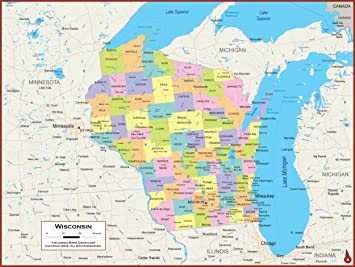 Amazon Com 42 X 32 Wisconsin State Wall Map Poster With Counties