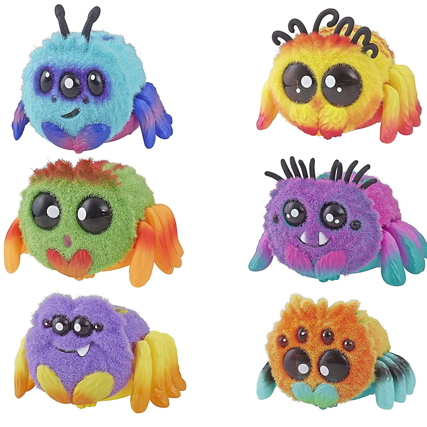 Spider FlufferPuff; Harry Scoots Klutzers Toofy Spooder Bo Dangles and Peeks Voice Activated Pet; Ages 5 and up Set of 6