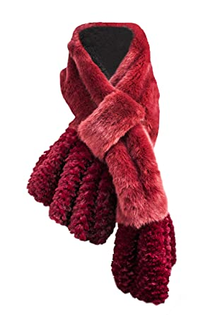 8f945af4551 Versace 19.69 Faux Fur Scarf with Burgundy Collar