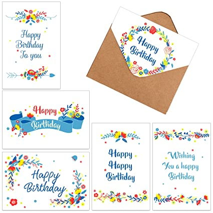 60 Assorted Happy Birthday Gift Cards Folded Greeting Blank Note