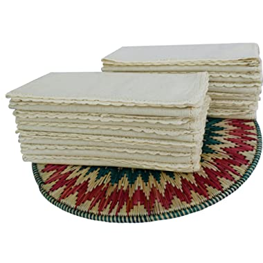 Flax Cotton Dinner Napkins with Lace .(20%Linen,80%Cotton) Size 20 x20  - Natural Color with Rustic Look Offered By Linen Clubs.( SET OF 12 PIECES)