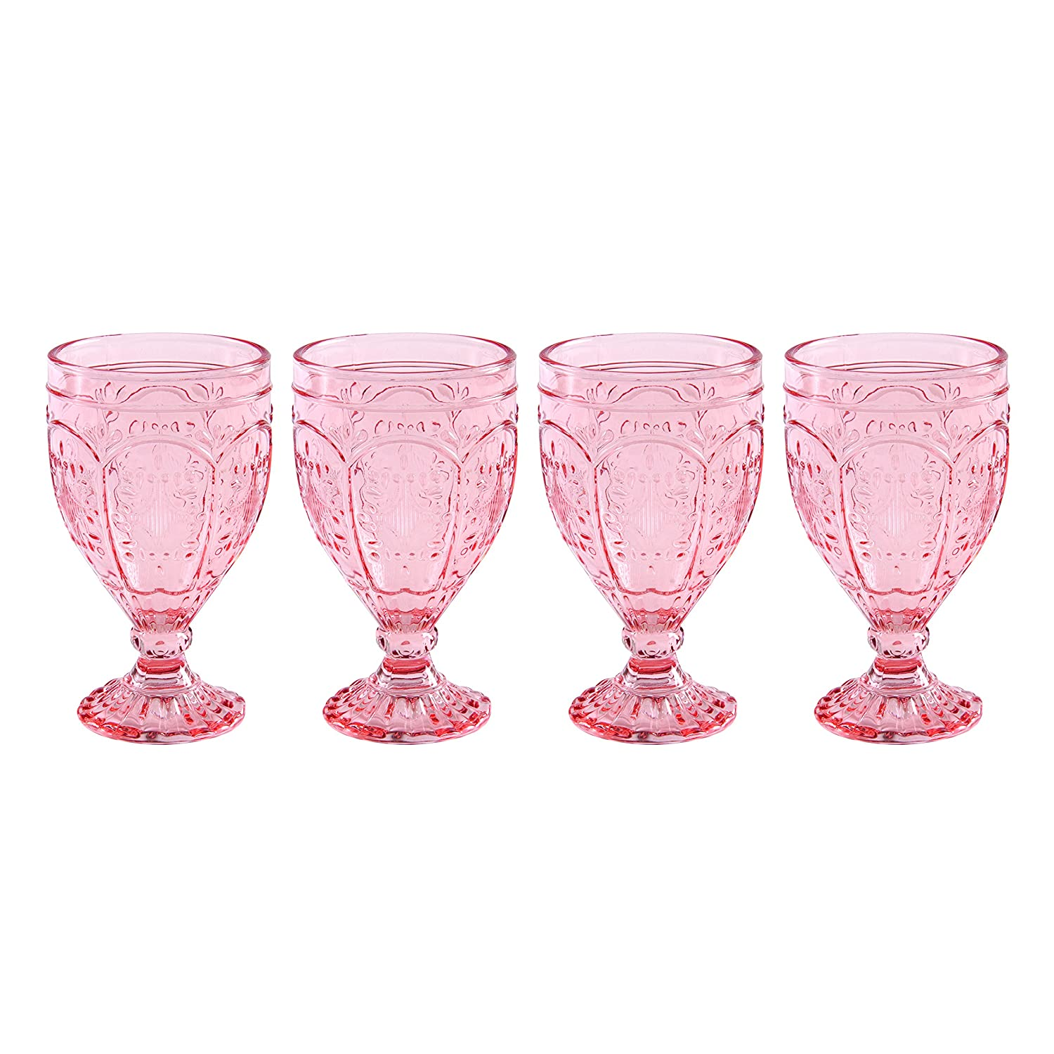 Blush 12-Ounce Fitz and Floyd 83-011 Trestle Collection Set of 4 Glass Goblets
