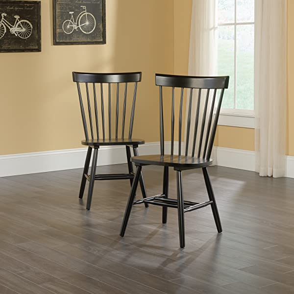 "Sauder 418892 New Grange Spindle Back Chairs, L: 20.47"" x W: 21.26"" x H: 36.22"", Black Finish"