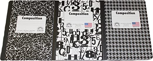 Pack of 3 One of Each Style Wide Ruled Black and White Composition Notebooks