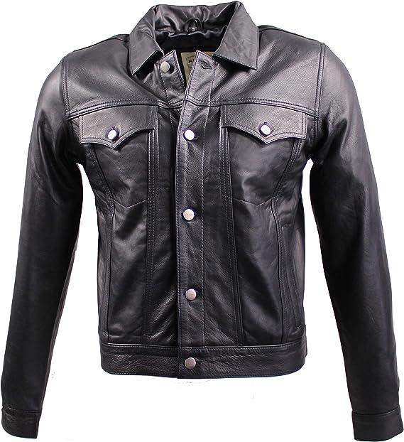 Lederjacke Ricano Jeans Jacket Rind Nubuk Leder schwarz