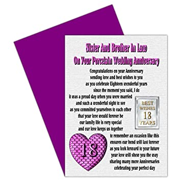 Sister Brother In Law 18 Hochzeitstag Karte Mit