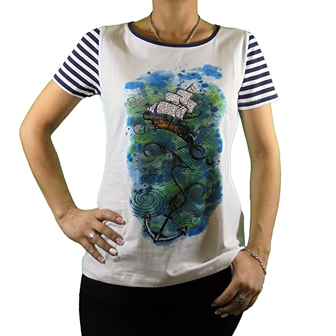 Blanco Y Mujer Camiseta Color Rayas Corta Estampado Marinero Manga 4fU6Ewq6 c8aca3e97b37