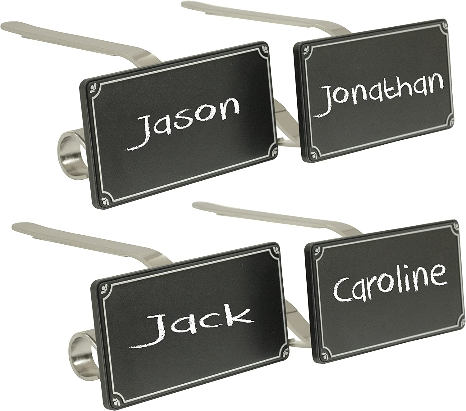 Haute Decor The Original MantleClip Stocking Holder with Chalkboard Icons, Silver 4-Pack