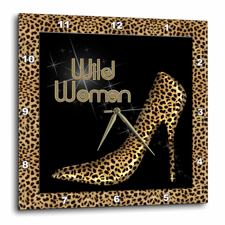 10 by 10-Inch 3dRose dpp/_21804/_1 Cheetah Print Wildl Woman Stiletto Pump and Diamond Bling Wall Clock