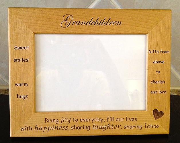 Amazon.com: Grandchildren Laser Engraved Personalized 5 x 7 Photo ...