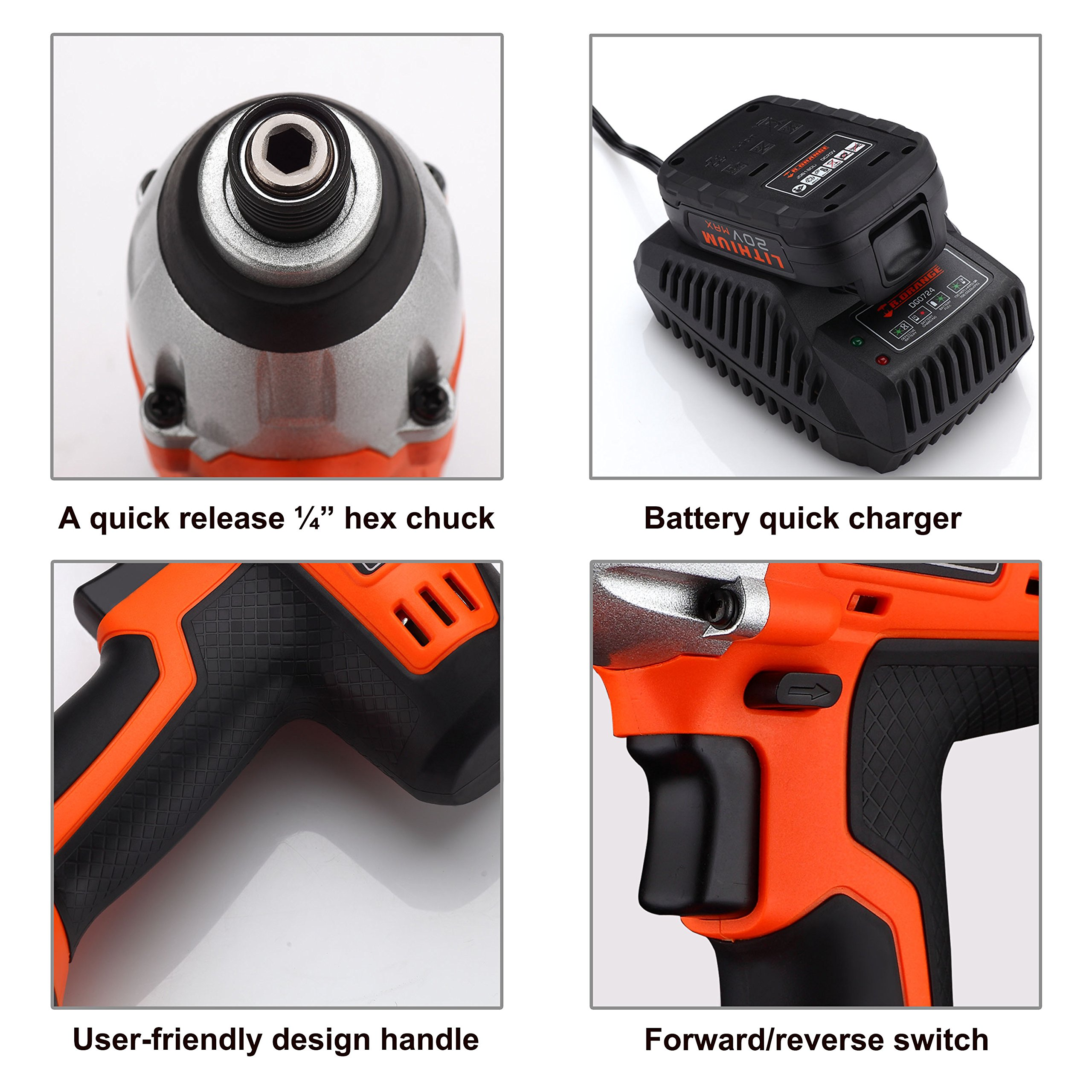 Mr.Orange 1/4 Inch 20V Lithium-Ion Cordless Impact Driver Kit with Quick Charger and Battery Includes Durable Gloves 2 pcs socket driver bits and Soft Tool Bag by Mr.Orange (Image #5)