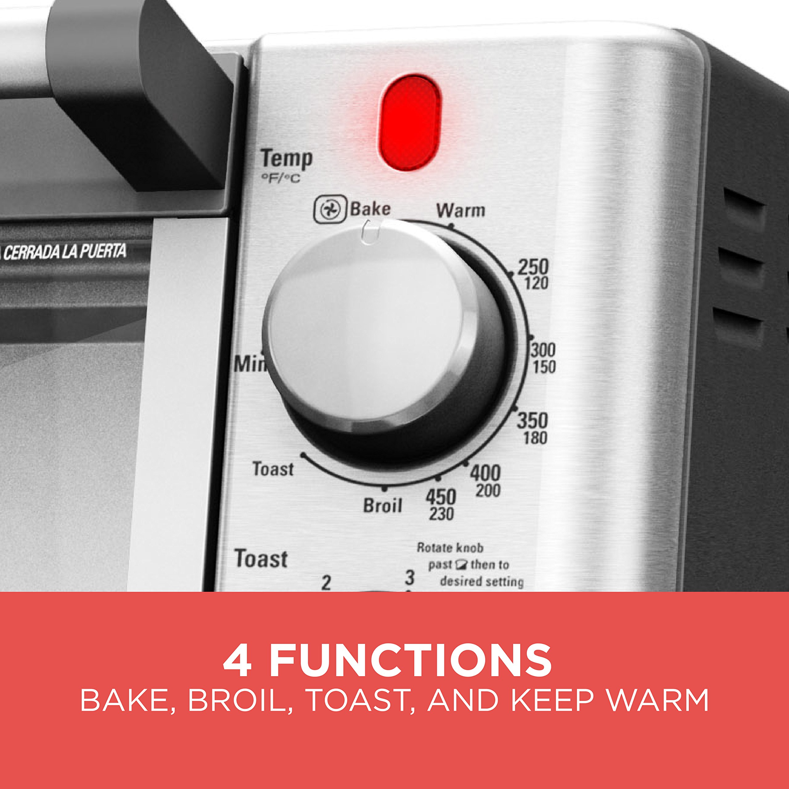 BLACK+DECKER 6-Slice Convection Countertop Toaster Oven, Stainless Steel/Black, TO2050S by BLACK+DECKER (Image #2)