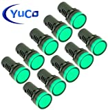 ( 10 ) YC-22G-2 YuCo CE LISTED 22MM COMPACT PANEL MOUNT INDICATOR PILOT LIGHT LED GREEN 120V AC/DC