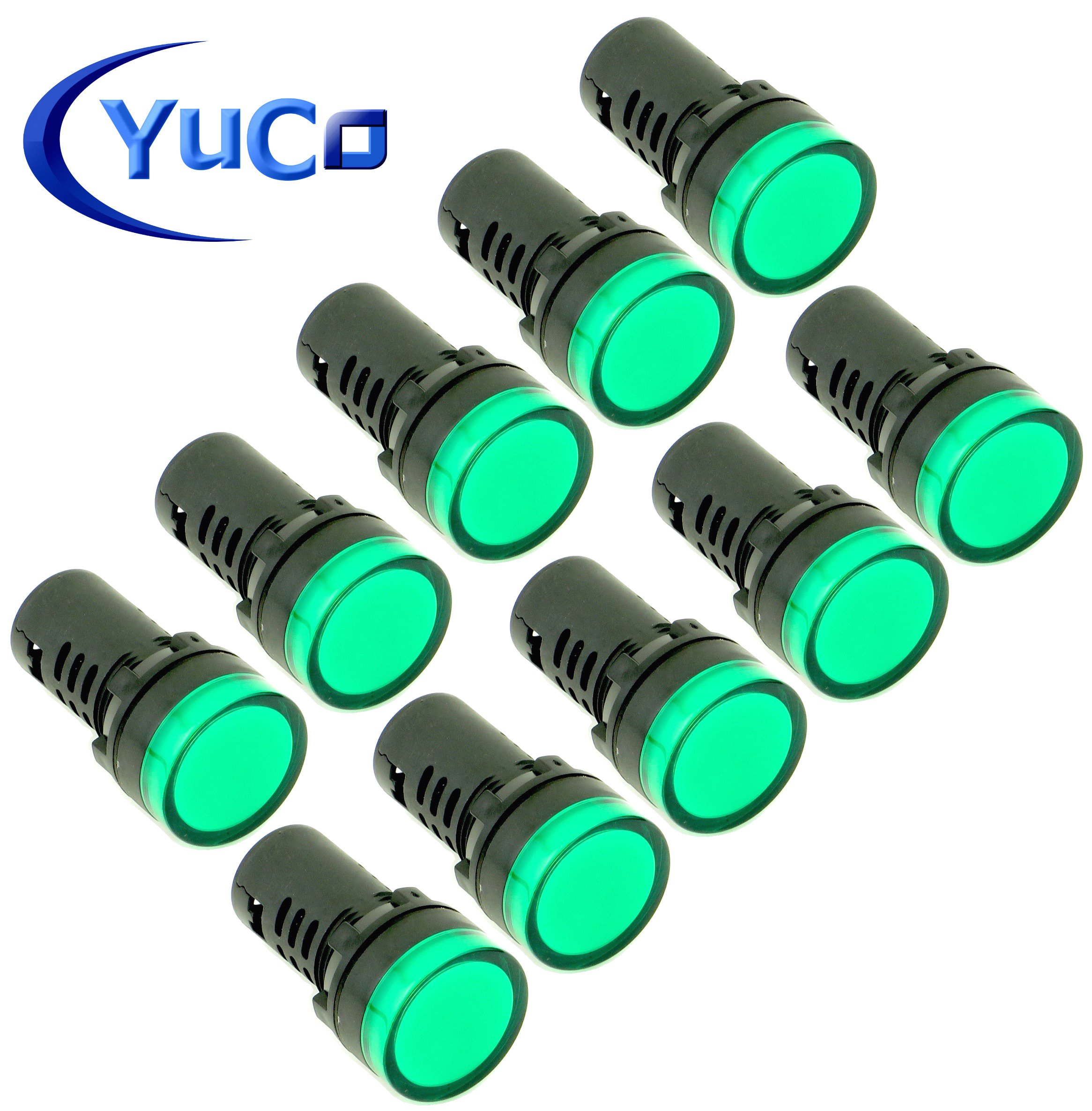 (10) YC-22G-3 YuCo CE Listed 22MM Compact Panel Mount Indicator Pilot Light LED Green 220V AC