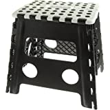 """Unity 13"""" Non-Slip Foldable Step Stool with Carrying Handle - Supports Up To 300LBS - Easy Open - Perfect for Kitchen, Bathroom, Bedroom & More - by Unity (Black White/ Black Dots)"""