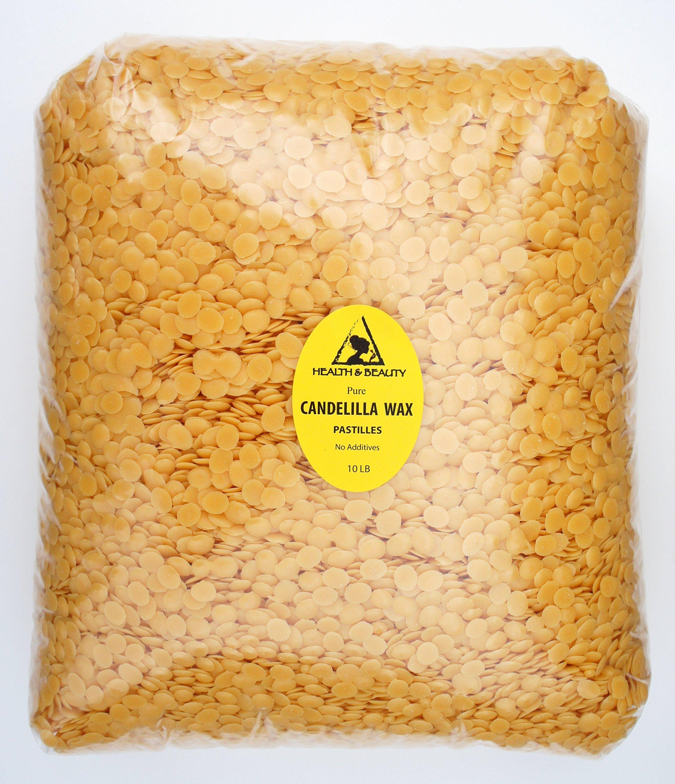 Candelilla Wax Flakes Organic Vegan Pastilles Beards Premium Prime Grade A 100% Pure 10 LB by H&B Oils Center Co.