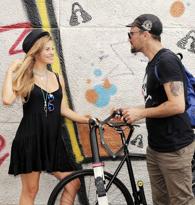 Peso 1 kg SeatyLock FOLDYLOCK Compact Custodia Inclusa Dimensioni 31.5 80cm disteso Lucchetto Bici Catena antifurto Bici Compatto e Pieghevole Blocco Catena per Bicicletta Uomo e Donna