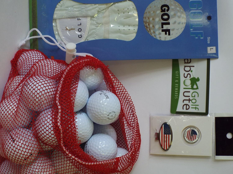 メンズギフトボックス36リサイクルゴルフボールメッシュバッグwith Free Tee 's &磁気アメリカ国旗ゴルフボールマーカー/帽子クリップ&グローブホワイト左Medium / Largeゴルフグローブ   B00FE33Z78