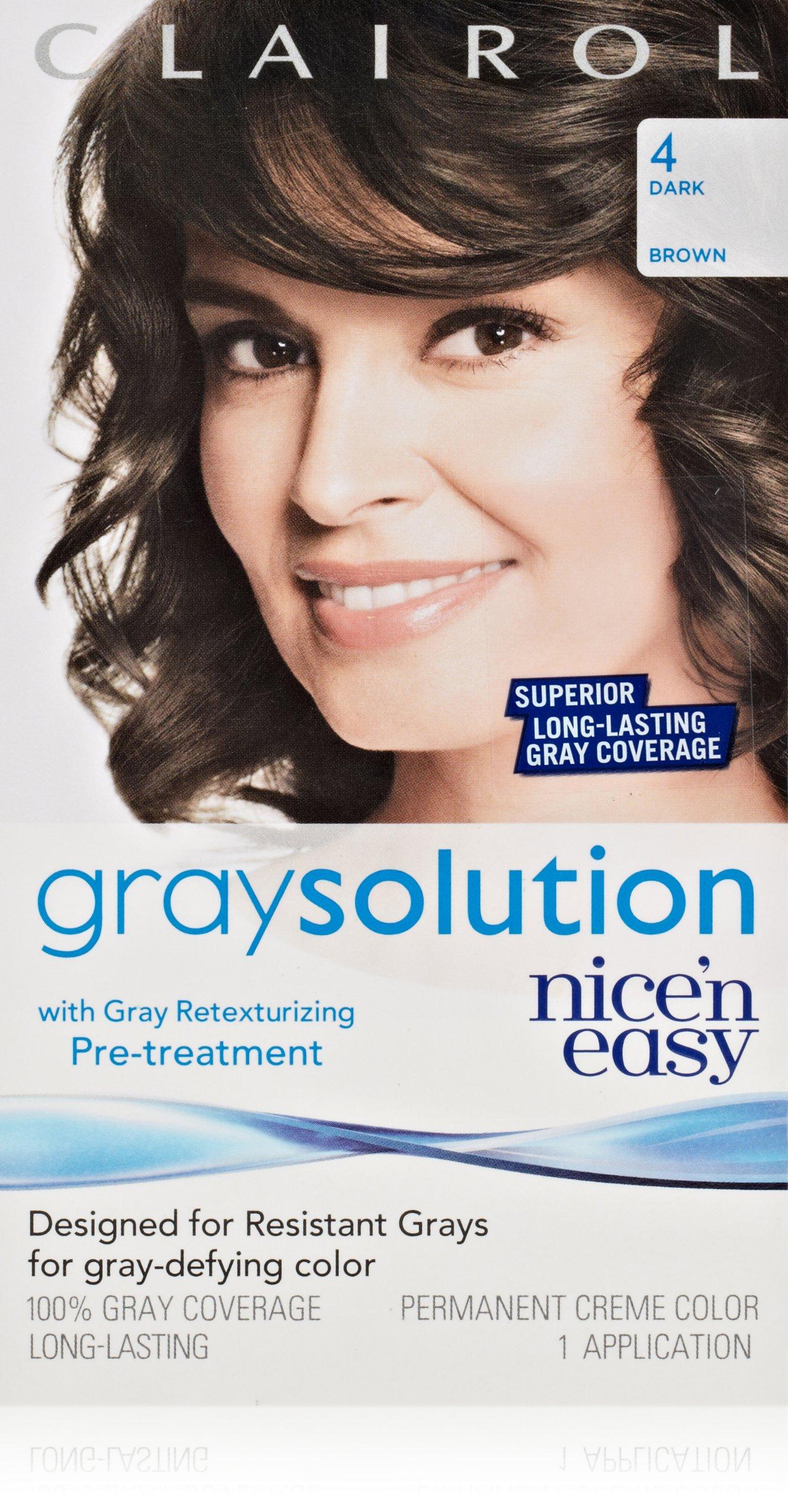Clairol Gray Solution By Nice 'N Easy Hair Color 004 Dark Brown 1 Kit (Pack of 3)