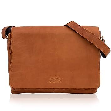 0b14f5e5105a89 SID & VAIN Laptoptasche Messenger Bag Leder Spencer XL groß Businesstasche  Herren 15 Zoll Laptop Umhängetasche