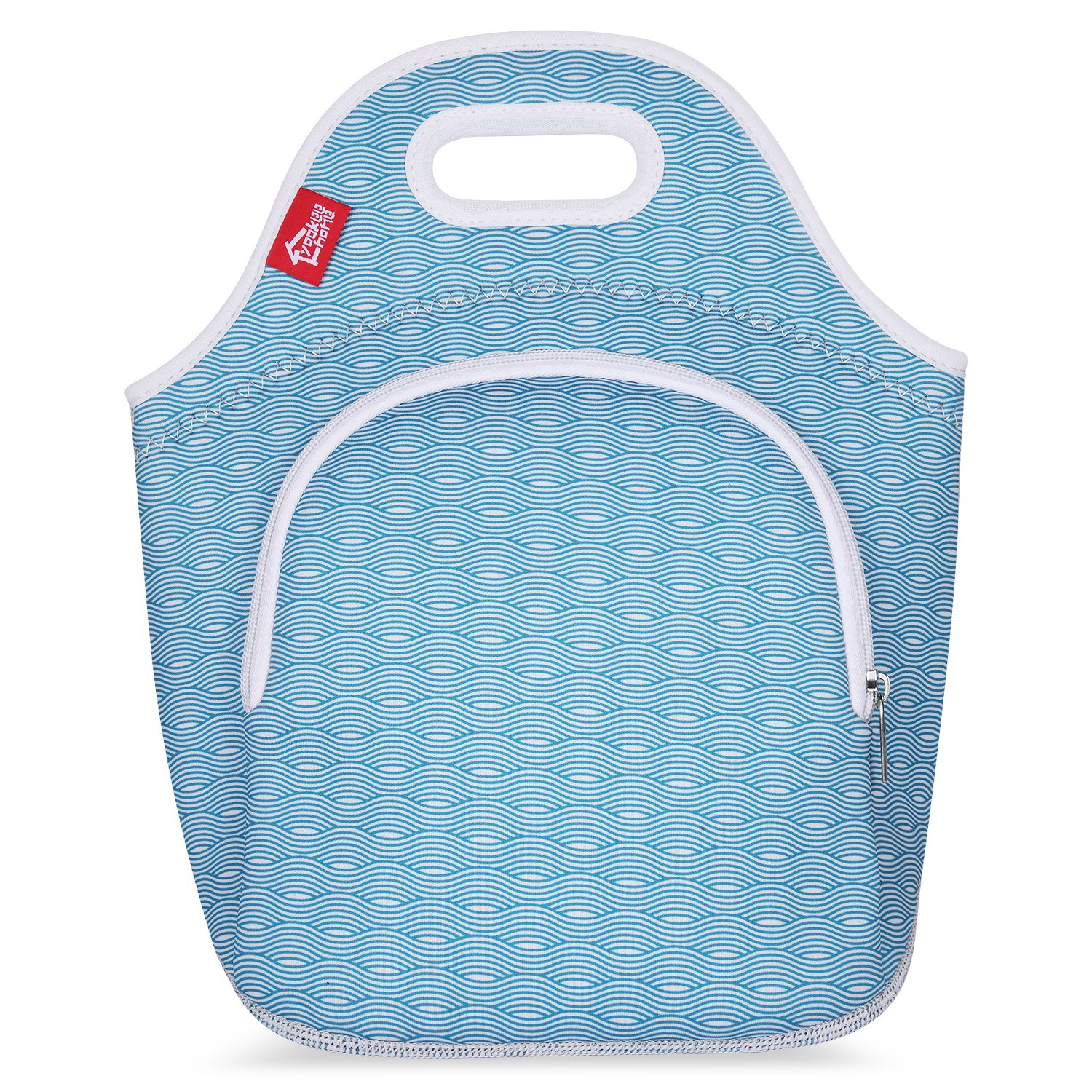 Neoprene Lunch Tote Bags with Pockets, Yookeehome Thick Insulated Thermal Cooler Blue Lunch Bags Waterproof Outdoor Travel Picnic Lunch Handbags Tote with Zipper