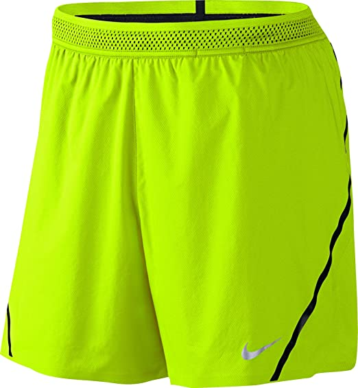 Amazon.com: Nike Men's Aeroswift 5 Inch Running Shorts - Volt/Black ...
