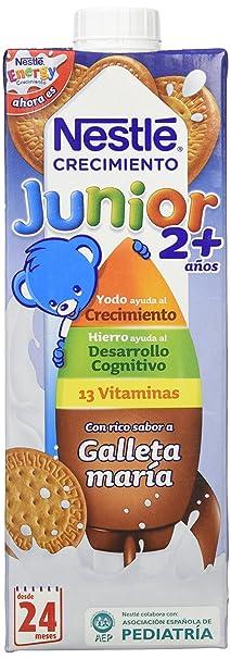 Nestle - Leche Junior Crecimiento con sabor a galleta María +2 años, 6 x
