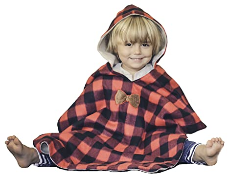Kids Car Seat Poncho Lumberjack Deer Reversible Warm Blanket Safe Use OVER Belts Buffalo Plaid