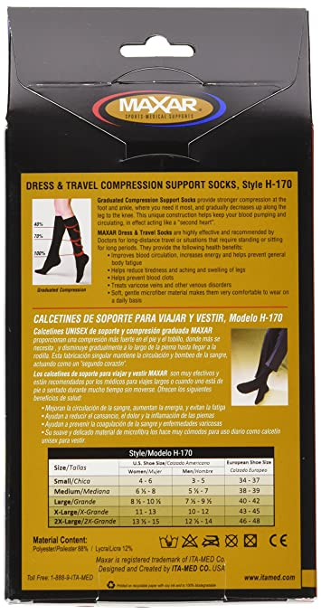 Amazon.com: MAXAR Unisex Dress & Travel Compression Support Socks (12-15 mmHg): H-170 XX-Large, Black: Health & Personal Care