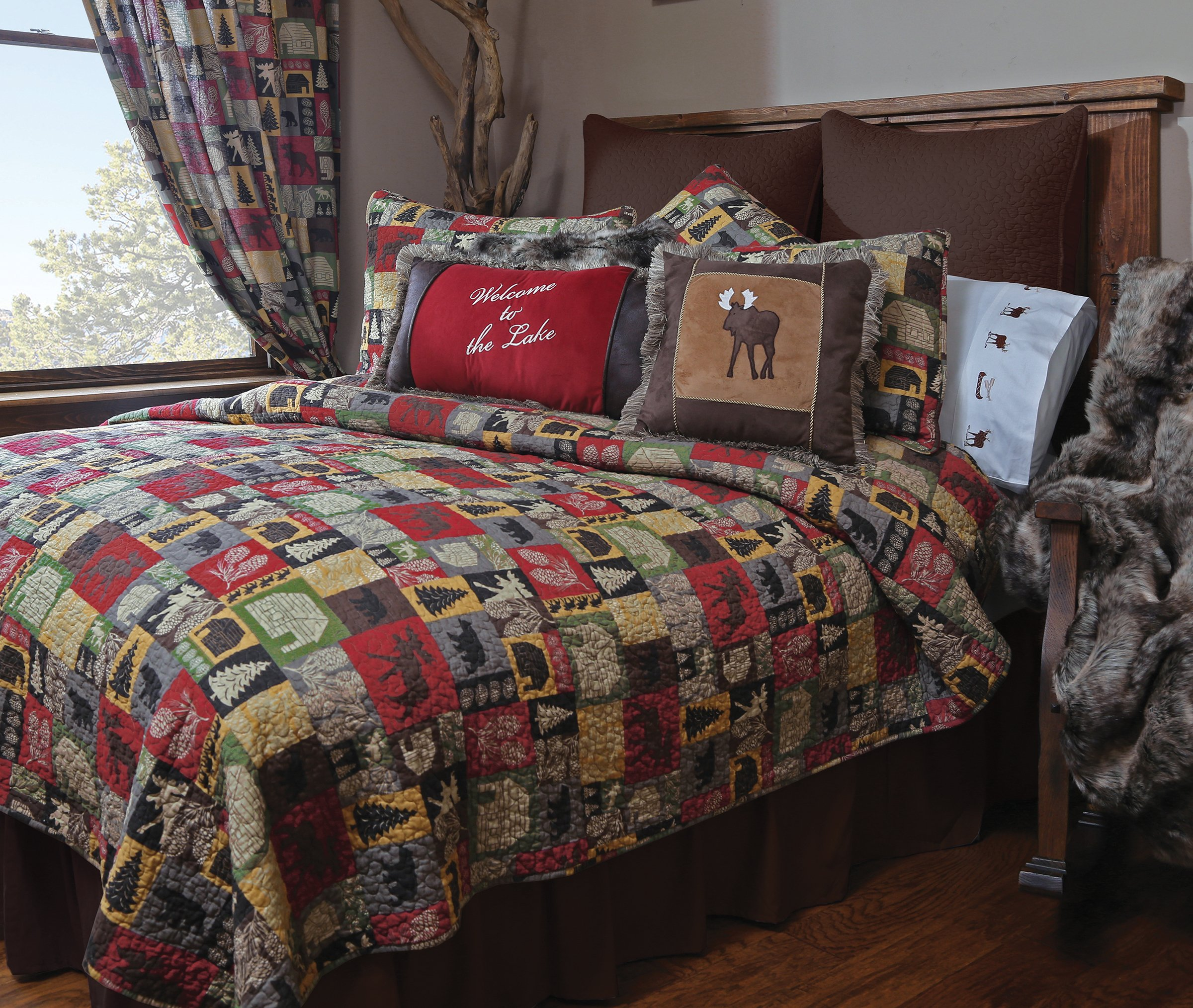 Carstens Cabin in The Woods 5 Piece Cotton Printed Quilt Bedding Set, Queen by Carstens (Image #2)